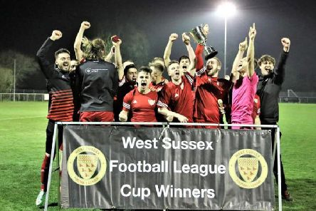 AFC Gatwick celebrate becoming West Sussex League Cup champions.