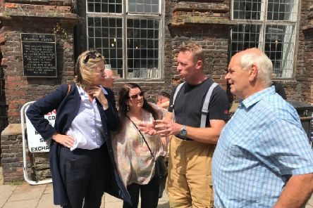 Amber Rudd in Rye this morning following the devastating blaze at The George in Rye hotel. Picture: Twitter