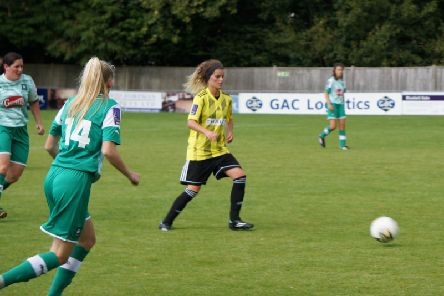 Metrobus player of the match Sam Pittuck in action on her Crawley Wasps debut against Plymouth. Picture by Alan Sillwood-Brown.