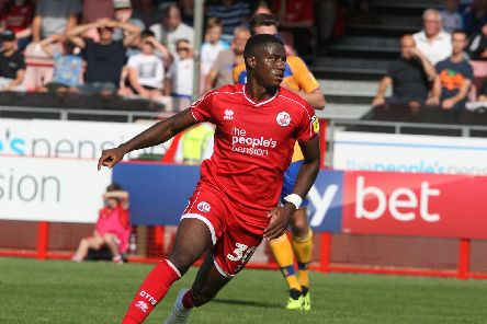 Crawley Town's Bez Lubala in action against Mansfield Town. All pictures by Derek Martin Photography