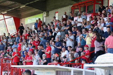 Crawley Town fans at The People's Pension Stadium on Saturday