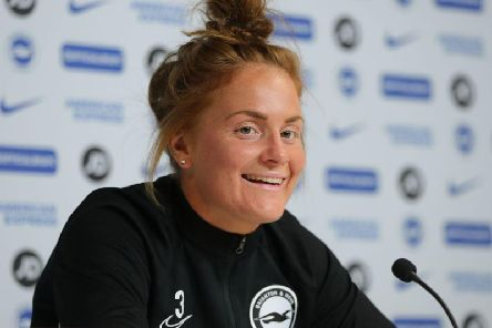 Fliss Gibbons speaks to the media ahead of Brighton's match against West Ham this Sunday
