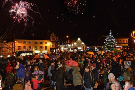 Busy scenes during the Lutterworth lights switch on and firework display.