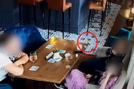 A still from the footage showing the glass falling off the table