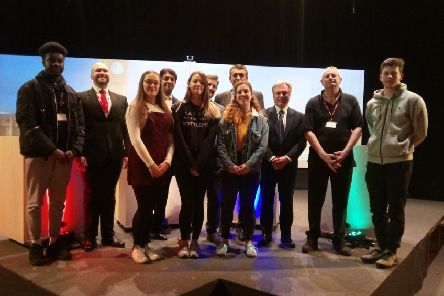 The Crawley candidates with staff and students at St Wilfrid's School