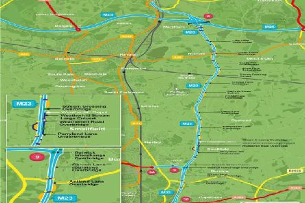 A map of the works on the M23 SUS-191214-165943001