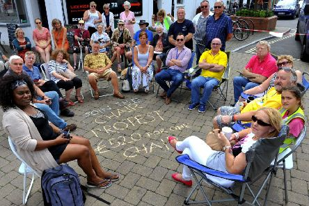 A tables and chairs protest held last summer against the county council charges. Pic Steve Robards. SR1921461 SUS-190828-192751001