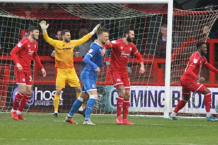Action from Crawley Town v Carlisle United. Picture by Derek Martin
