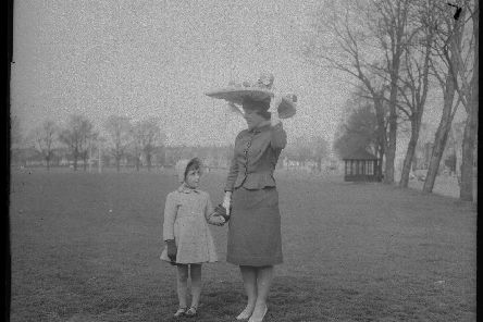 Easter Bonnet wearers prepared for a parade on The Racecourse, Northampton, April 23, 1962