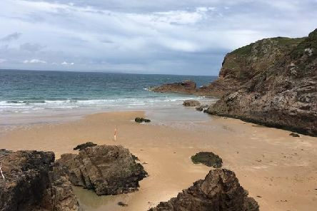 The deserted Plemont Bay Beach