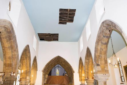 St Andrew's Church in Great Billing was left with a hole in the ceiling after thieves stole lead from its roof last year