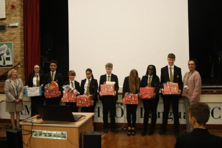 Year Nine pupils with the Christmas hampers