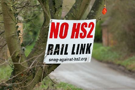 An anti-HS2 sign in Culworth, south Northamptonshire, where the high-speed railway line is due to pass nearby