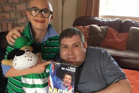 Celtic fan Jay Beatty from Lurgan with Rangers fan Tim Webb from Portadown