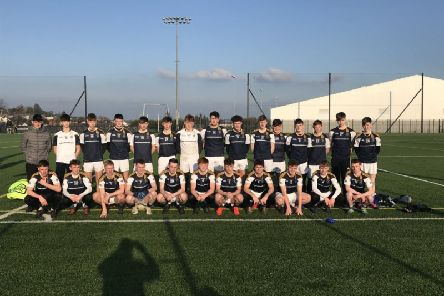 The St. Columb's College panel pictured before their Markey Cup semi-final victory on Friday.