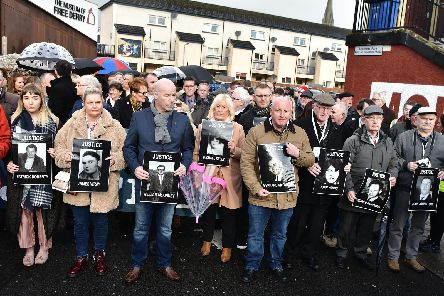 Families make their way into the city centre where they learned only one soldier would face criminal prosecution over the deaths of 14 people as a result of Bloody Sunday in Derry in 1972.