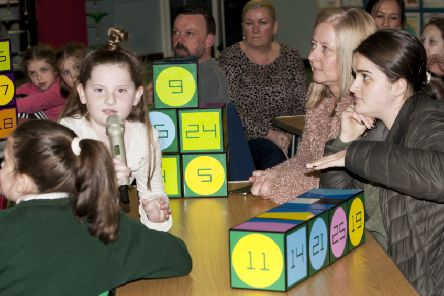 "Parents and children enjoying the fun at Thursday night�""s event in Greenhaw Primary School."