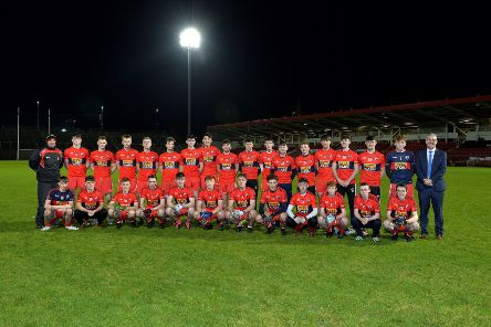 The Cathair Dhoire panel that lined out in a Mac Larnon Cup group game earlier in the season. included on left is Paul Simpson, one of the management team. DER4618GS018
