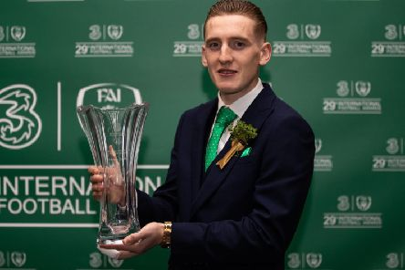Former Derry City striker Ronan Curtis with this Men's U21 International Player of the Year Award in Dublin.