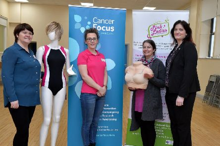 Maureen Collins and Michelle McLaren from the Pink Ladies Cancer Support Group and Debbie Lesley and Dervilia Kernaghan, from  Cancer Focus Northern Ireland, pictured at the recent launch of the community bra fitting for cancer patients, in the Bishop Street Community Centre. DER4818GS016