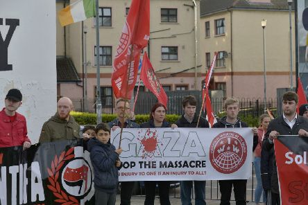 Protestors at a previous rally in solidarity with the people of Gaza last year.  DER2018GS041