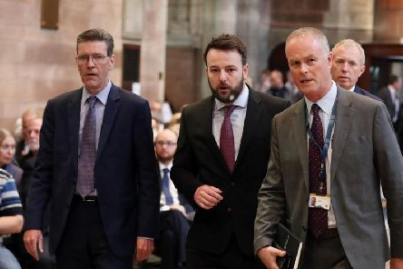 The Mayor of Derry and Strabane, John Boyle, and SDLP leader Colum Eastwood, at the funeral and service of thanksgiving for the life of journalist Lyra McKee at St Anne's Cathedral, Donegall Street, Belfast. Lyra McKee was murdered in Creggan in Derry on Thursday, April 18.  Photo by Kelvin Boyes / Press Eye.