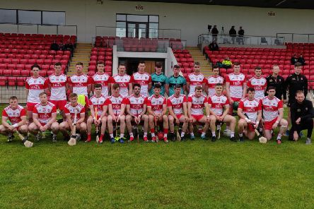 The Derry panel which took on Donegal in Saturday's Christy Ring Cup, Group One clash at Owenbeg.