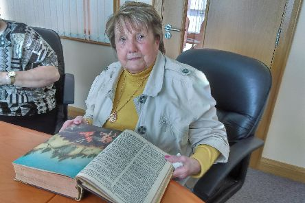 Andrina Nutt pictured with the Bible, which belonged to her father James Alexander Gallagher.