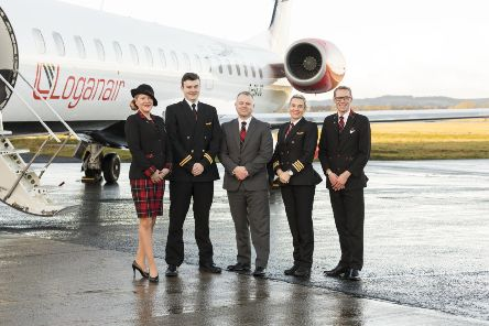 Ready for take off....  Loganair Managing Director Jonathan Hinkles with pilots and cabin crew at City of Derry Airport.