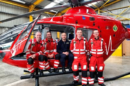 Pictured at the Air Ambulance base is the team that was tasked for the very first call out in July 2017, Glenn O'Rorke, HEMS Operational Lead, Darren Monaghan, HEMS Clinical Lead, Pilot Dave O'Toole and HEMS Paramedics Philip Hay and Mike Patton.