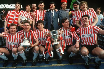 Derry City celebrate the historic 1989 treble win.