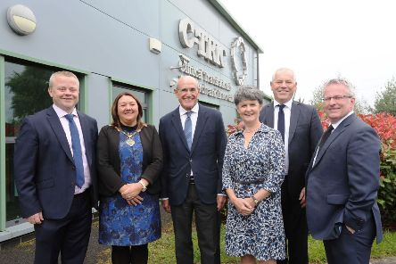 Pictured during 10th anniversary celebrations at C-TRIC are, from left, Dr Aaron Peace, CEO, C-TRIC, Councillor Michaela Boyle, Mayor, Derry and Strabane Council, Professor Rafael Bengoa, Institute for Health and Strategy, Bilbao, SPain, Dr Anne Kilgallen, chief executive, Western Trust, John Kelpie, chief executive, Derry and Strabane Council and Professor Paddy Nixon, vice-chancellor, Ulster University.