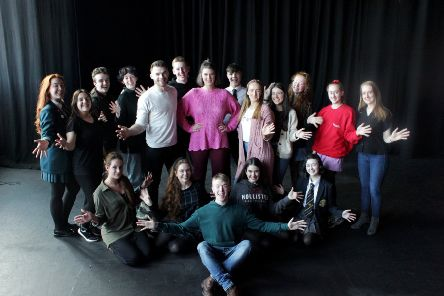 L-R) Molly Duffy (Ensemble), Tori Messenger (Merry Murderess), Ben McGinn (Ensemble), Ezra Orr (Merry Murderess), Warren McCook (Billy Flynn), Daniel McCafferty (Amos), R�ana Lynch (Velma), Aodhan Kehoe (Ensemble), Ashton Murphy (Roxie), Danielle McElroy (Mary Sunshine), Faye Deering (Merry Murderess), Phoebe McCord (Ensemble), Anna McCormack (Ensemble), Natalie Armstrong (Merry Murderess), Siobhan McParland (Merry Murderess), Conan Hamilton (Ensemble), Lia-Della Friel (Ensemble) and Rachel Harley (Merry Murderess).