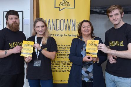 Pictured at the launch of the Man Down project yesterday afternoon in the Verbal Arts centre are Sean ODonnell, Key Worker, Claire Harkin, Project Manager, Mayor of Derry City and Strabane Colr. Michaela Boyle and Oisin ODonnell, Man Down Film Production Team.  The project aims to create awareness around speaking out about mental health issues, particularly among young men.   DER4119GS  036