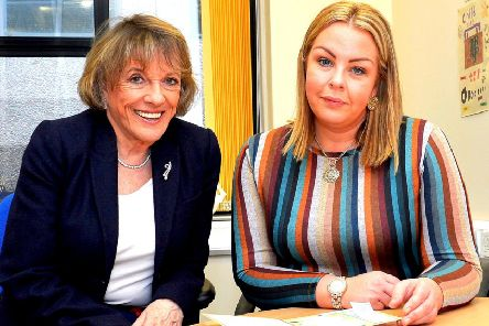 Childline Founder and President Dame Esther Rantzen pictured with local area manager Georgina McGlinchey during her recent visit to the Foyle Childline offices in Derry. DER1219GS-034