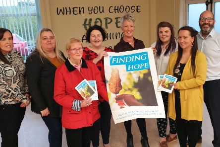 Western Trust Recovery College are delighted to launch 'Finding Hope' Mental Health and Wellbeing booklet on World Mental Health Day 10 October 2019 from left to right are: Michelle McGlone, Volunteer; Sharon Vaughan, Peer Trainer; Julie Kyle, Peer Trainer; Bernadette Donaghey, Peer Trainer; Olive Young, Recovery College Coordinator; Brona Dyson, Peer Trainer; Karen Elliott, Peer Educator and Stephen Donnelly, Recovery Team Manager.
