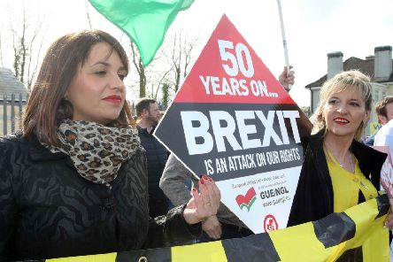 Elisha McCallion MP with Martina Anderson MEP at a previous Border Communities Against Brexit protest at the border crossing between Derry and Donegal at Bridgend. (Lorcan Doherty/PressEye)