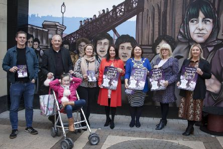 """FACTORY GIRLS XMAS PARTY. . . .The Mayor of Derry City and Strabane District Council, Michaela Boyle pictured launching the ��Former Factory Girls Christmas Party in the Parlour�"""" to be held on Friday, 6th December, 2019 at the city�""""s Guildhall with proceedings starting at 6.30pm. It�""""s understood this is an open invite to all former factory girls who worked in the city and district and will be hosted by the Mayor and the Inner City Trust. Included from left are Councillor Shaun Harkin, Councillor Paul Fleming with Avalynn McNaught, Deirdre Williams, Councillor Shauna Cusack, Helen Quigley, Inner City Trust and Karen Mullan. MLA."""