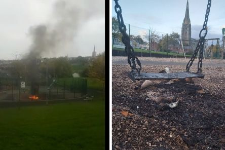 The fire at Bull Park on Thursday night and some of the resultant destruction.