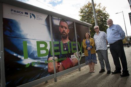 """WE ALL BELONG - launching a new prejudice campaign at Foyle Street, Derry on Thursday last are Councillor Michaela Boyle, Mayor of Derry City and Strabane District Council, Mr. Stephen Birkett, and Mr. Dermot O�""""Hara, Destined.(Photo: Jim McCafferty Photography)"""
