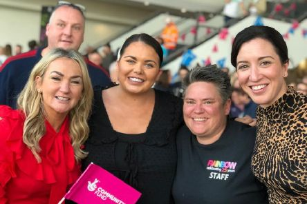 Anne Marie Donnelly, Liberty Consortium, Nuala Devenny, Rainbow Project and Kerry Boyd, Autism NI, join Scarlett Moffatt at the National Lottery's 25th birthday celebrations.