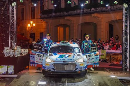 Callum Devine  and  Brian Hoy after securing third place at the FIA European Rally Championship, Rally Hungary.