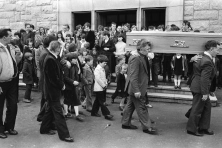 May 1981... Harry Duffy's children follow his coffin as it makes its way to the City Cemetery following Requiem Mass at St Mary's Church, Creggan. INSET: Harry Duffy.