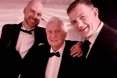 The late Ollie Donaghy (centre) with Enda Gormley (right) and Sean McElhinney at a John Mitchels, Birmingham club dinner dance in Birmingham.