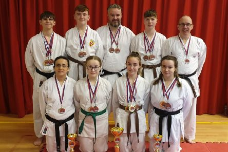 The North West Karate Federation Team with hteir medals following their success at the World Championships.