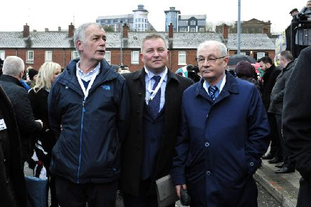 Gerry Duddy, Ciaran Shiels, solicitor, and Michael McKinney  DER1119GS-024
