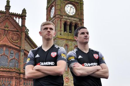 Ciaron Harkin and Ciaran Coll pictured in Derry City's new 2020 away jersey, which is on sale tomorrow in the club's Merchandise Shop on Carlisle Road.
