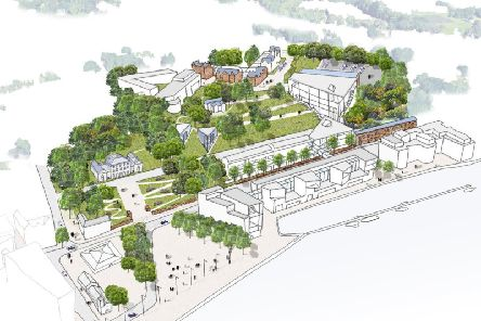 Ulster Universitys vision for future Magee expansion, with the indicative site for the Medical School running parallel to the riverfront, where the Council offices are located.  (Image: Ulster University)