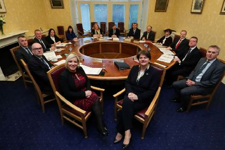 The newly reformed Northern Ireland Executive Ministers with First and deputy First Ministers Arlene Foster and Michelle O'Neill.