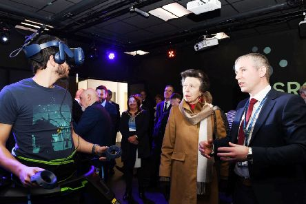 Professor Damien Coyle with Princess Anne at the official opening of the new SCANi-hub at UU Magee.